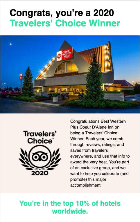 Trip Advisor Traveler's Choice Award 2020